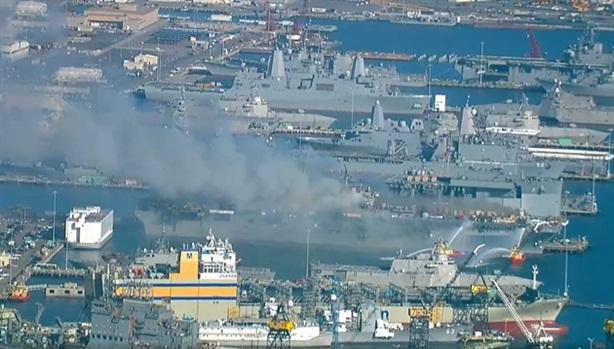 Cháy tàu đổ bộ Mỹ Wasp USS Bonhomme Richard