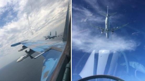 Su-27 Ukraine đầy tên lửa hộ tống P-8A quay lại Biển Đen