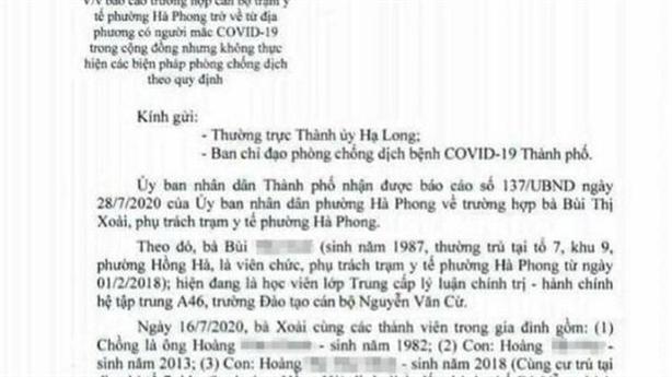 Kết đẹp vụ viên chức về từ Đà Nẵng không cách ly