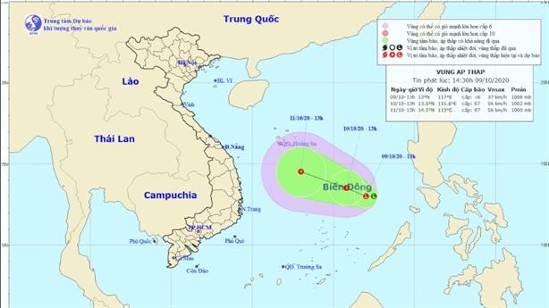 Xuất hiện áp thấp mới gây thời tiết xấu trên Biển Đông