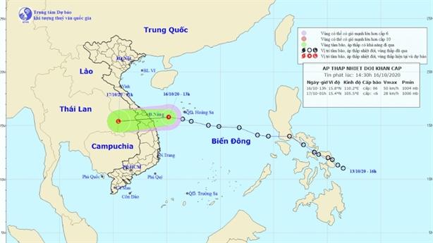 Áp thấp nhiệt đới áp sát Đà Nẵng - Bình Định