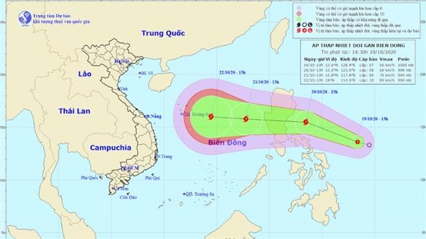 Cập nhật áp thấp nhiệt đới mới ngoài Biển Đông