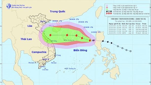 Xuất hiện bão số 8 trên Biển Đông liên tục tăng cấp
