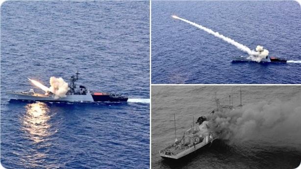 Tên lửa chống hạm Ấn Độ phá nát tàu địch