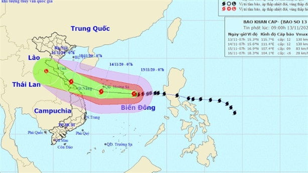 Bão số 13 sắp gây mưa lớn từ Hà Tĩnh - Quảng Nam