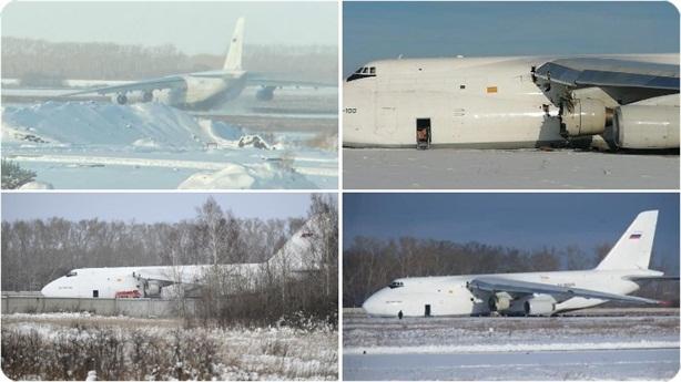 Siêu vận tải cơ An-124 Nga cháy động cơ, gãy càng