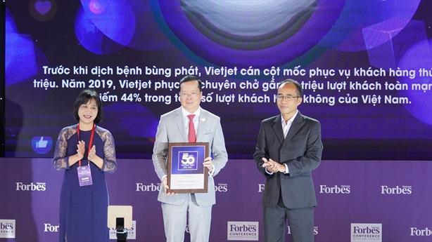 Forbes bình chọn Vietjet vào top 50 Thương hiệu dẫn đầu 2020