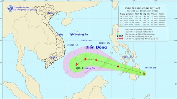 Xuất hiện vùng áp thấp gây thời tiết xấu gần Biển Đông
