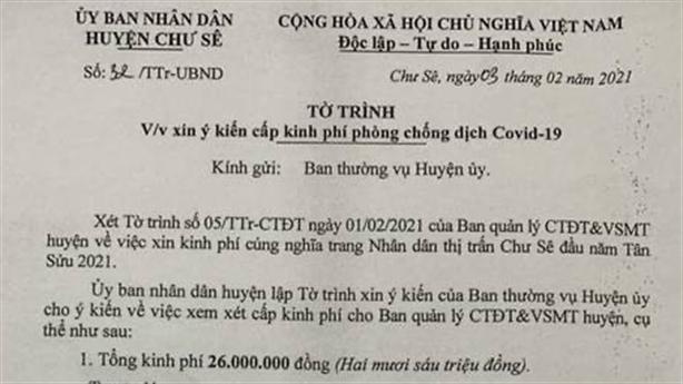 Xin kinh phí mua lợn quay cúng nghĩa trang: 'Việc tâm linh'