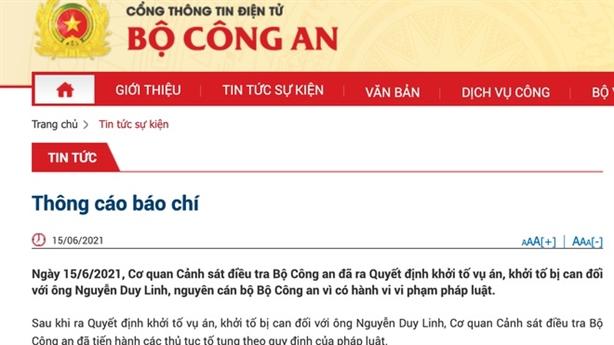 Khởi tố ông Nguyễn Duy Linh, nguyên cán bộ Bộ Công an